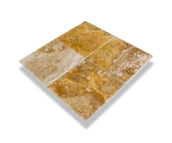 Kesir Scabos Travertine Tile Brushed and Chiseled 18x18 angle