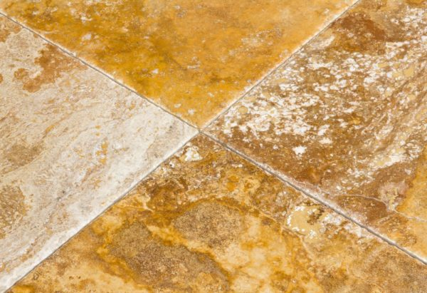 Kesir Scabos Travertine Tile Brushed and Chiseled 18x18 close up
