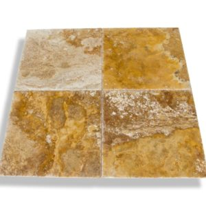 Kesir Scabos Travertine Tile Brushed and Chiseled 18x18 multi