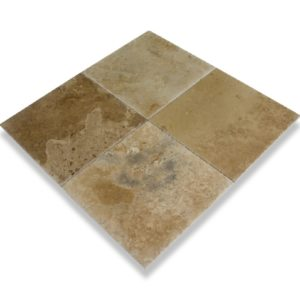 Kesir Volcano Travertine Tile Brushed and Chiseled 18x18 angle view