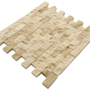 20012359 cappuccino splitface marble mosaics 1x2 top angle www.thulahome.com