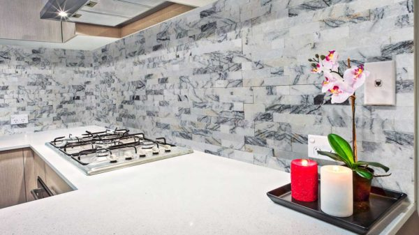 Split Face Lilac Marble Stacked Stone Ledger Panel