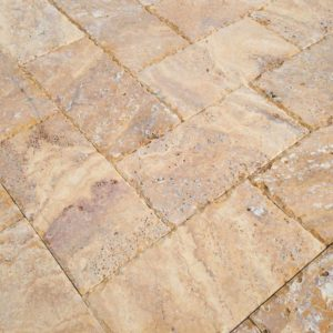 20020072-Meandros Gold Yellow Travertine Pavers - Honed and Chiseled Close view - www.thulahome.com