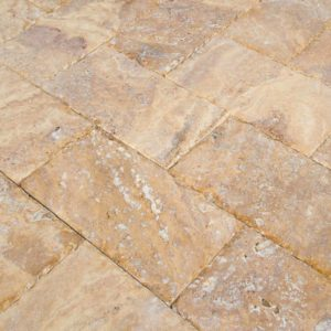 20020072-Meandros Gold Yellow Travertine Pavers - Honed and Chiseled Close view2 - www.thulahome.com