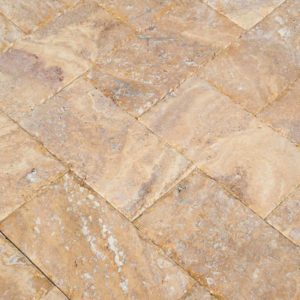 20020072-Meandros Gold Yellow Travertine Pavers - Honed and Chiseled Close view3 - www.thulahome.com