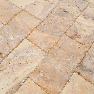 20020072-Meandros Gold Yellow Travertine Pavers - Honed and Chiseled Close view5 - www.thulahome.com
