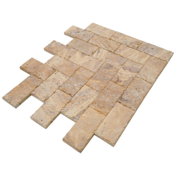 20020072-Meandros Gold Yellow Travertine Pavers - Honed and Chiseled angle view - www.thulahome.com