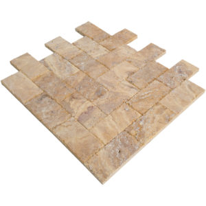 20020072-Meandros Gold Yellow Travertine Pavers - Honed and Chiseled multi angle view - www.thulahome.com