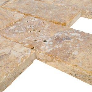 20020072-Meandros Gold Yellow Travertine Pavers - Honed and Chiseled profile view - www.thulahome.com