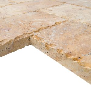 20020072-Meandros Gold Yellow Travertine Pavers - Honed and Chiseled profile view2 - www.thulahome.com