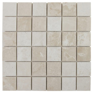 10083731-crema-marfil-beige-marble-mosaic-2x2-polished-top-piece-view