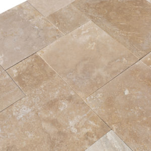 20071439-Denizli-Beige-French-Pattern-Travertine-Tile-Filled-Brushed-Straight-Edge-Top-Angle-Profile-View-2S3A3712