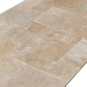 20071439-Denizli-Beige-French-Pattern-Travertine-Tile-Filled-Brushed-Straight-Edge-Top-Angle-View-2S3A3710