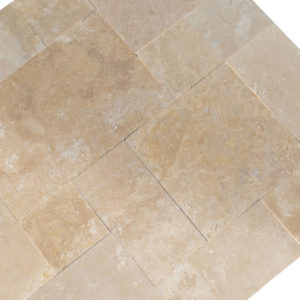 20071439-Denizli-Beige-French-Pattern-Travertine-Tile-Filled-Brushed-Straight-Edge-Top-Angle-View-2S3A3719
