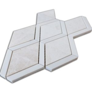 Diamond Beige Marble and Dolomit Mosaic Tile Angle View